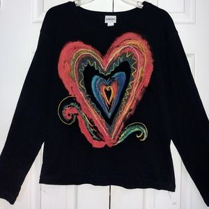 Chico's Beautiful Colorful Heart Design. Size 3